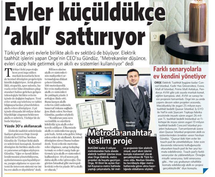 CEO Mr. Nevhan Gündüz gave an interview to The Daily Newspaper Vatan