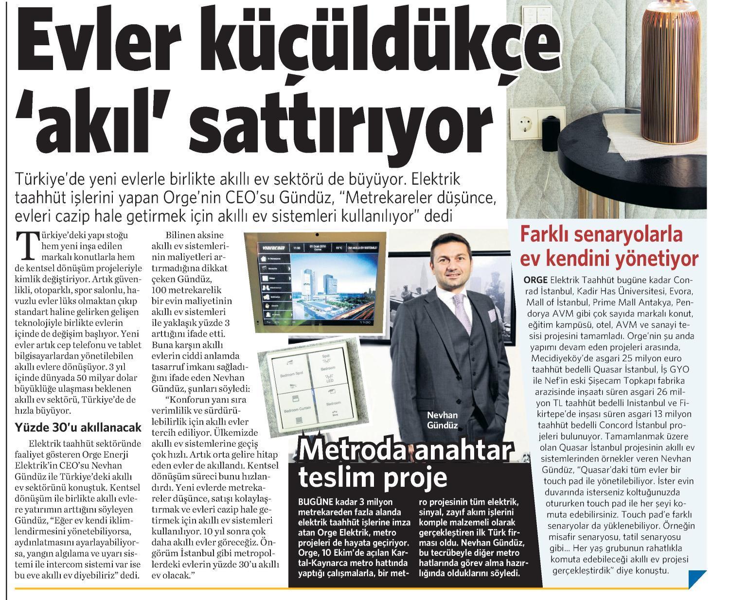 CEO'muz Nevhan Gündüz Vatan Gazetesi'ne açıklamalarda bulundu
